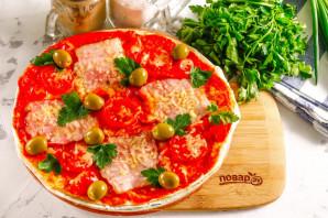 Пицца из лаваша в микроволновке - фото шаг 8