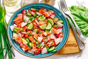 Салат с красной рыбой без майонеза - фото шаг 6