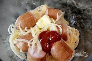 """Лучший рецепт спагетти в сосисках, с сыром и кетчупом """"Махеевъ"""" - фото шаг 4"""