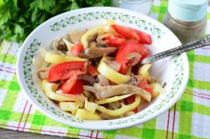 Теплый салат с вешенками - фото шаг 8