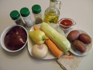 Печень с овощами в духовке - фото шаг 1
