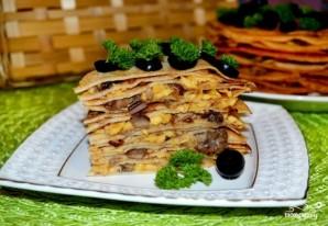 Блинный торт с грибами - фото шаг 8