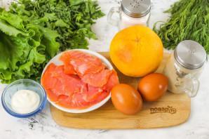 Салат с красной рыбой и грейпфрутом - фото шаг 1