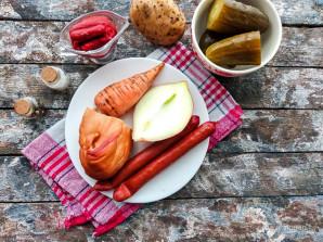 Солянка с охотничьими колбасками - фото шаг 1