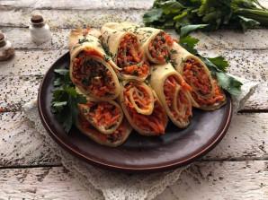 Блинчики с корейской морковью  - фото шаг 9