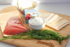Сырный рулет с лососем на Новый год - фото шаг 1