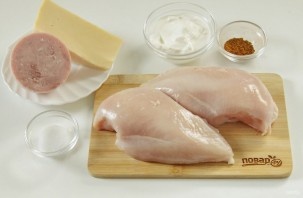 Куриные роллы с ветчиной и сыром - фото шаг 1