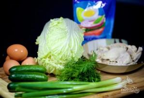 Салат с отварной курицей, яйцом и овощами - фото шаг 1