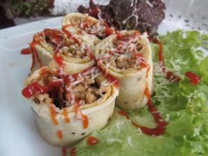 Рулет с грибами и спагетти - фото шаг 16