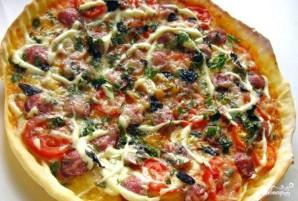 Пицца с копчёной колбаской - фото шаг 9