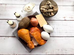 """Салат """"Невеста"""" с копченой курицей и грибами - фото шаг 1"""