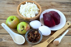 Свекольные сырники в духовке - фото шаг 1