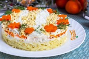 Слоеный салат с треской - фото шаг 7