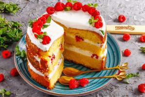 Бисквитный торт с малиной - фото шаг 9