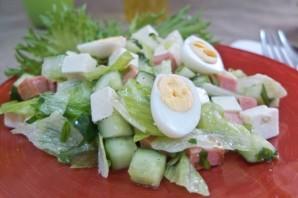 Салат с жареной колбасой - фото шаг 8