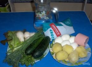 Овощная окрошка на кефире - фото шаг 1