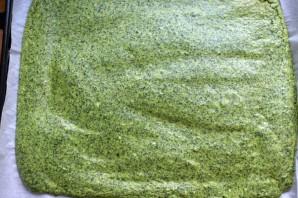 Зеленый рулет с креветками и болгарским перцем - фото шаг 3
