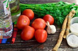Соленые помидоры с чесноком и хреном - фото шаг 1