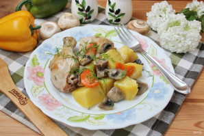 Курица с грибами в казане - фото шаг 9