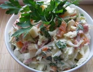 Простой салат с копченой колбасой - фото шаг 3