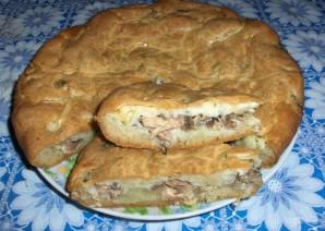 Пирог с сайрой - фото шаг 9