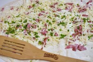 Жареный лаваш с колбасой и сыром  - фото шаг 5