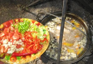 Суп из баранины с баклажанами в казане - фото шаг 3