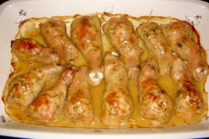Фаршированная голень курицы с грибами - фото шаг 6