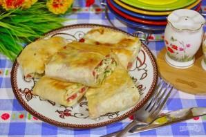 Жареный лаваш с колбасой и сыром  - фото шаг 9