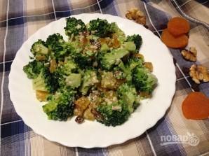 Салат из брокколи с курагой, изюмом и орехами - фото шаг 9