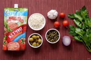 Рис с каперсами, оливками и кетчупом - фото шаг 1