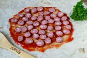 Пицца в лаваше на сковороде - фото шаг 3