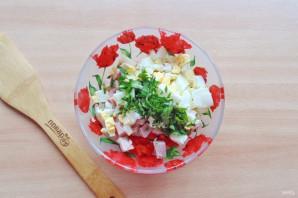 Салат с яйцом и ветчиной - фото шаг 6