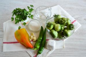 Острые зеленые помидоры с перцем и чесноком - фото шаг 1