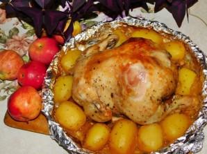 Курица с яблоками и картофелем в духовке - фото шаг 4