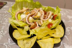 """Салат из кальмаров и мидий с чипсами """"Жемчужина моря"""" - фото шаг 6"""