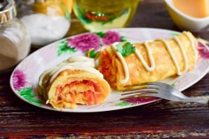 Яичный рулет с сыром и морковью - фото шаг 7