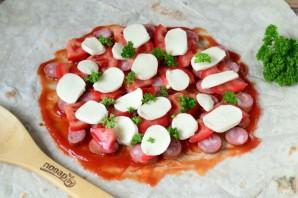 Пицца в лаваше на сковороде - фото шаг 4