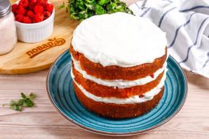 Бисквитный торт с малиной - фото шаг 7