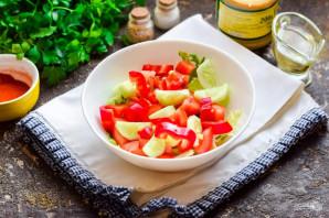 Греческий салат с горчичной заправкой - фото шаг 5
