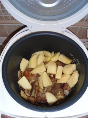 Картофель вкусный с ребрышками в мультиварке - фото шаг 4