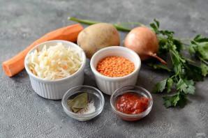 Чечевичный суп с квашеной капустой - фото шаг 1