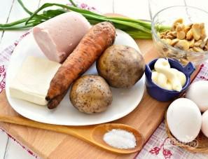 Новогодний салат с ветчиной, грибами, сыром, зеленым луком - фото шаг 1