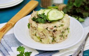 Рыбный салат из консервов с картошкой - фото шаг 7