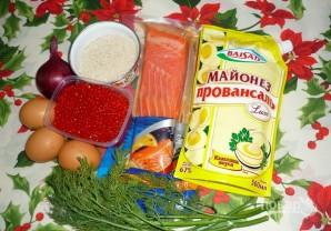 Салат с красной рыбой и икрой - фото шаг 1