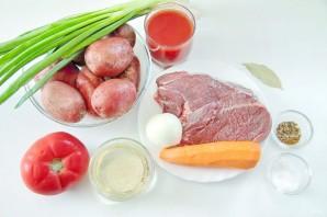 Жаркое из говядины с зеленым луком - фото шаг 1