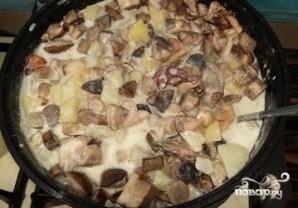 Грибная солянка с картошкой и сметаной - фото шаг 4