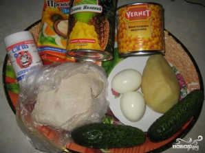 Салат из курицы с ананасом и огурцом - фото шаг 1