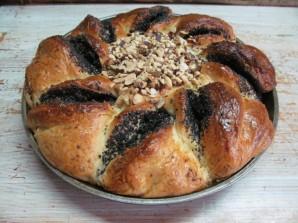 Дрожжевой пирог с шоколадной пастой маком и орехами - фото шаг 14