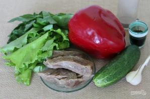 Салат с говядиной, болгарским перцем и огурцом - фото шаг 1